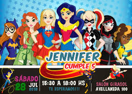 Tarjeta O Invitacion Digital Imprimible Dc Superhero Girls Bs