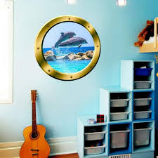 Dolphins Window Porthole Wall Decal Peel And Stick Mural Etsy