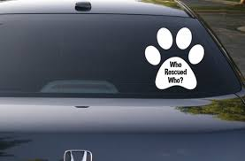 Rescue Dog Decal Who Rescued Who Paw Decal Dog Decal Car Decal Laptop Decal Yeti Decal Window Decal Paw Print Animal Rights K9 Yeti Decals Rescue Dogs Laptop Decal