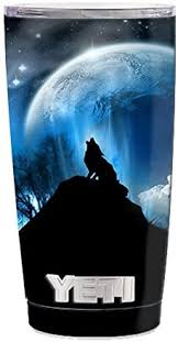 Amazon Com Skin Decal Vinyl Wrap 5 Piece Kit For Yeti 20 Oz Rambler Tumbler Cup Howling Wolf Moon Kitchen Dining