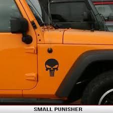 Hood Fender Pair 2 Matte Black Decals Punisher Jeep Wrangler Jk Tj Yj Kl Xj Jl Ebay