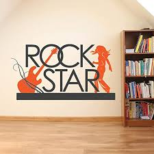 Amazon Com N Sunforest Rock Star Music Theme Decor Guitar Rock N Roll Vinyl Wall Decal Home Decor Home Kitchen