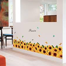 Amazon Com Passion Sun Flower Sunflower Baseboard Wall Sticker Gornorriss New Mobile Creative Wall Affixed With Decorative Wall Window Decoration Home Kitchen