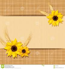 Vector Card With Sunflowers And Ears Of Wheat On A Sacking