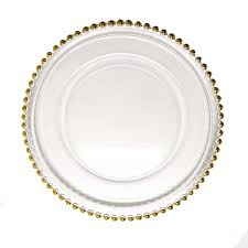 clear glass charger dinner plates gold
