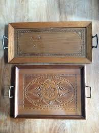 two original wood carved serving trays