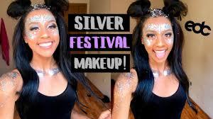 silver festival rave makeup tutorial