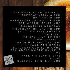 This week at Loose Rail! Tuesday... - Loose Rail Brewing | Facebook