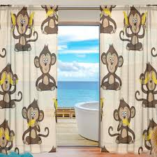 Amazon Com Top Carpenter Monkey And Banana Semi Sheer Curtains Window Voile Drapes Panels Treatment 55x84in For Living Room Bedroom Kids Room 2 Pieces Home Kitchen