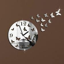 crystal mirror wall clock sticker