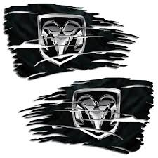Dodge Ram 1500 2500 Mopar Hemi Distressed Flag Decal