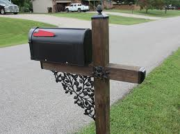 Rose Pattern Wrought Iron Mailbox Post Accessory Set With Pineapple Top Madison Iron And Wood