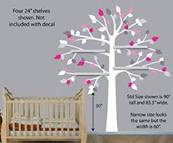 Amazon Com Pink Gray Wall Decals White Shelf Tree Wall Decal Girls Room Vinyl Tree Nursery Wall Decor Baby