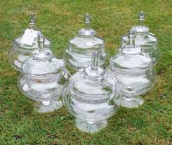 six large hand blown glass victorian
