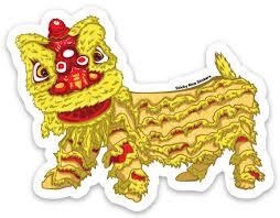 Yellow Lion New Year Sticker Asians Never Die