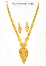 22k gold long necklace earrings set