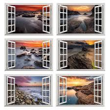 Sea Sunrise Wall Sticker 3d Window View Wall Decal Rocky Coastline Vinly Wallpaper Home Living Bedroom Decor Seascape Stickers Wall Stickers Aliexpress