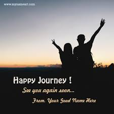 young couple photo to wishes happy and safe journey