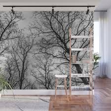 Flying Tree Branches Black And White Wall Mural By Frozenlakemp Society6