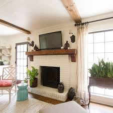 white brick fireplace love the added