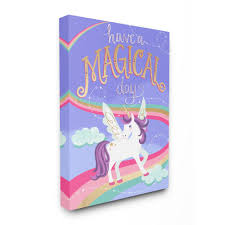 The Kids Room By Stupell 16 In X 20 In Purple Unicorn Have A Magical Day By Elizabeth Silver Printed Canvas Wall Art Brp 2204 Cn 16x20 The Home Depot