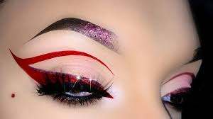 red cut crease cat eye makeup