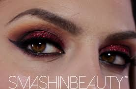 red glitter eye shadow makeup holiday