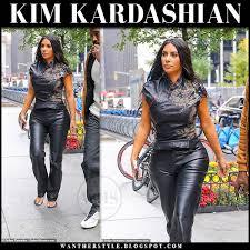 kim kardashian in black leather pants