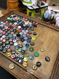 diy bottle cap table with resin