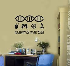 Amazon Com Gamer Quote Vinyl Wall Decal Gaming Dna Art Gamepads Video Games Stickers And Stick Wall Decals Home Kitchen