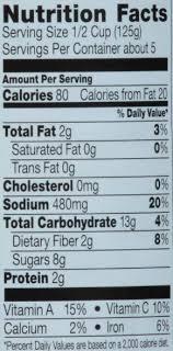 ragu spaghetti sauce nutrition label