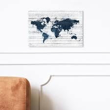 Shop Oliver Gal Mapamundi Boho Navy Maps And Flags Wall Art Canvas Print World Maps Blue Gray Overstock 31290730