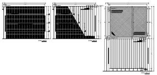 2d Cad Drawings Details Of The Entrance Gate And Fencing Design Dwg File Cadbull