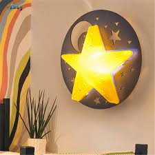 Hut Children Room Decoration Star Moon Shape Wall Lamps Kids Bedside Lamp Wooden Wall Sconce Light For Study Corridor Restaurant Led Indoor Wall Lamps Aliexpress