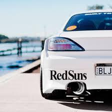 2x Redsuns Team Rising Sun Stance Initial D Anime Jdm Racing Car Sticker Decal Wish