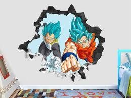 Dragon Ball Super Goku Vegeta Super Saiyajin Wall Decal Smashed 3d Sticker Vinyl Decor Mural Movie Dragon Ball Decor Custom Vinyl Wall Decals Sticker Art