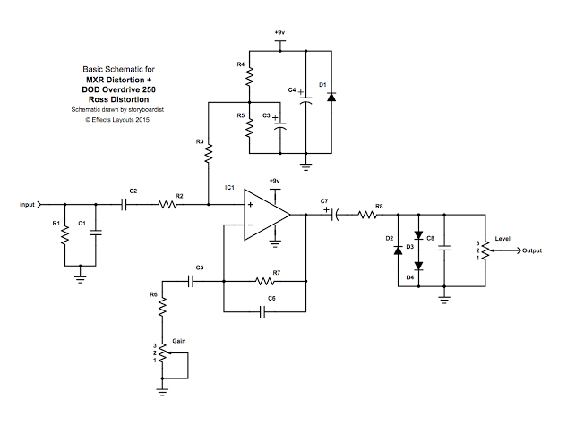 Image result for opamp distortion pedal schematic""