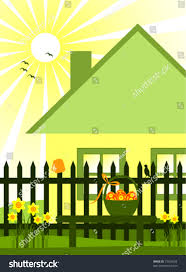 Vector Cottage Picket Fence Daffodils Easter Stock Vector Royalty Free 73426594