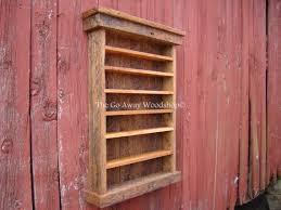 barnwood display cabinet shot glass