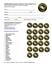 Fillable Online Swhs Athletic Booster Club Car Decal Order Form Fax Email Print Pdffiller
