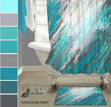 teal shower curtain and bath rug