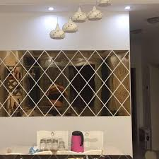 Diamond Spliced Mirror Stickers Self Adhesive Removable Acrylic Mirror Sheets Wall Decals For Home Art Room Bedroom Background Decorative Mirrors Aliexpress