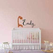 Personalized Giraffe Nursery Wall Decal Giraffe Name Wall Etsy