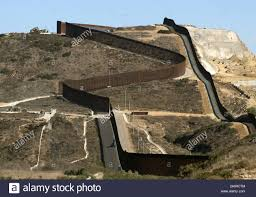San Diego California Usa 26th Oct 2019 Two Steel Fences At The Border Between The United States And Mexico Snake Over A Hill Just East Of Border Field State Park In California