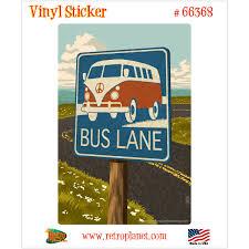 Bus Lane Hippie Vw Van Sign Vinyl Sticker At Retro Planet