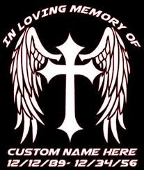 Custom Angel Wings Cross In Loving Memory Decal Car Truck Etsy
