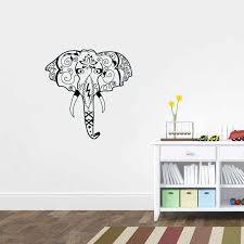 Head Elephant Vinyl Wall Stickers Indian Pattern Wall Decal For Living Room Ganesha Hindu God Art Mural Adesivo De Parede Za468 Wall Decals Vinyl Wall Stickerswall Sticker Aliexpress