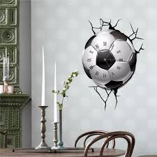 Pag Sticker 3d Wall Clock Decals Soccer Football Cracking Wall Sticker Home Decor Gift Sale Banggood Com