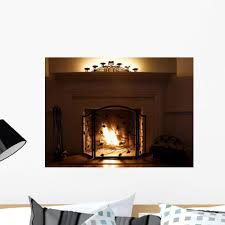 Amazon Com Wallmonkeys Fireplace With Burning Logs And Candles Wall Decal Peel And Stick Graphic Wm140026 24 In W X 18 In H Home Kitchen