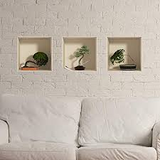 Amazon Com 3d Effect Adhesive Stickers Bonsai Trees In Pot Wall Decoration Trompe L Oeil Bedroom And Living Room Set Of 3 30 X 30 Cm Kitchen Dining